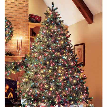 pre lit artificial douglas fir christmas tree - Pre Lighted Christmas Trees