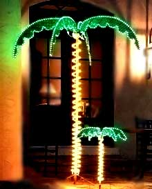 7' Palm Tree with rope lights. Also a small 2' palm tree for visual sizing!